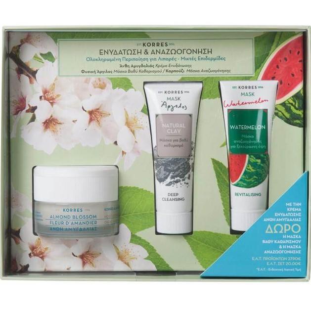 Korres Πακέτο Προσφοράς Almond Blossom Cream Λιπαρές-Μικτές Επιδερμίδες 40ml &Δώρο Natural Clay Mask 18ml & Watermelon Mask 18ml