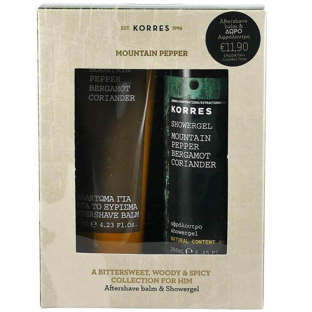 Korres Πακέτο Προσφοράς Mountain Pepper Bergamot Coriander Aftershave Balm 125ml & Δώρο Mountain Pepper Showergel 250ml