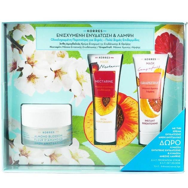 Korres Πακέτο Προσφοράς Almond Blossom Cream Ξηρές-Πολύ Ξηρές Επιδερμίδες 40ml & Δώρο Nectarine Mask 18ml & Grapefruit Mask 18ml