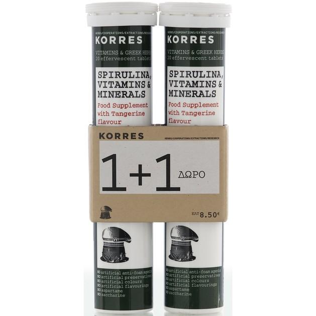 Πακέτο Προσφοράς Σπιρουλίνα, Βιταμίνες & Μέταλλα 1+1 Δώρο 2x20eff.tabs - Korres