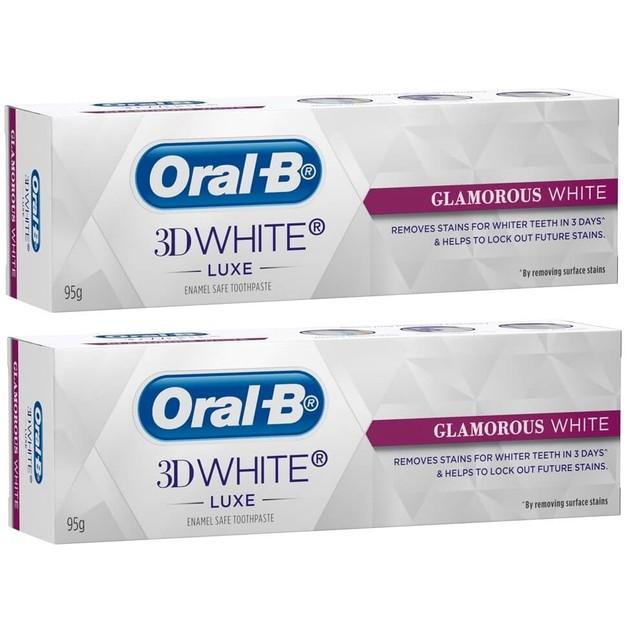 Oral-B Πακέτο Προσφοράς 3D White Luxe Glamorous White 2 x 75ml 1+1 Δώρο