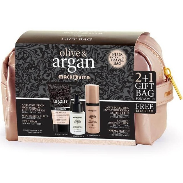 Macrovita Πακέτο Προσφοράς Argan Anti-Pollution Fluide Creme 50ml, Hyaluronic Beauty Elixir 15ml &Δώρο Eye Cream 30ml + gift bag