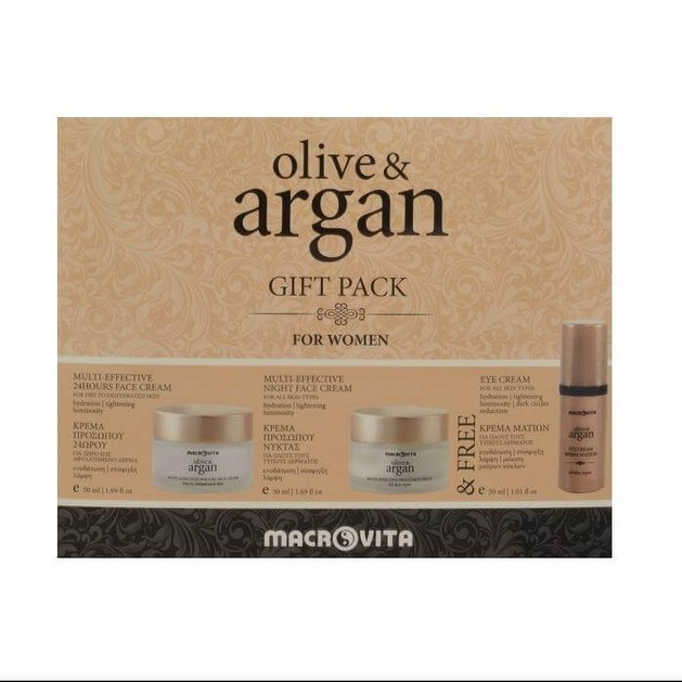 Macrovita Olive & Argan Gift Pack For Women 24Hours Cream 50ml, Night Cream 50ml & Eye Cream 30ml