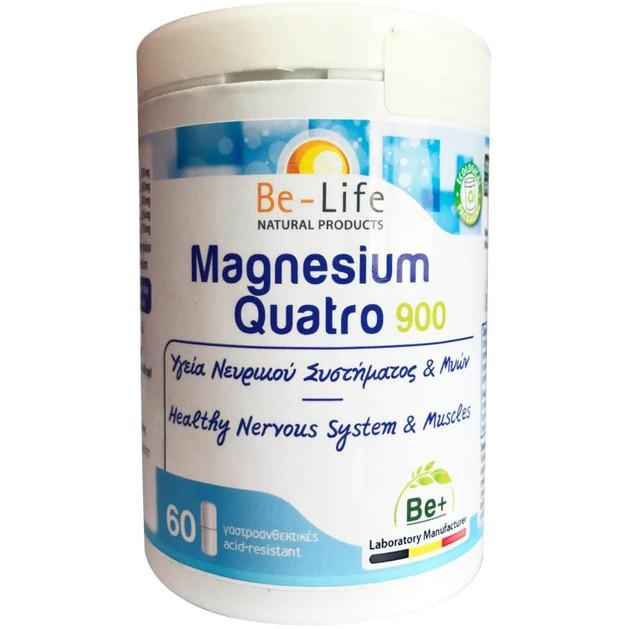 Be-Life Magnesium Quatro 900 Συμπλήρωμα Διατροφής για την Υγεία του Νευρικού Συστήματος & Μυών 60caps