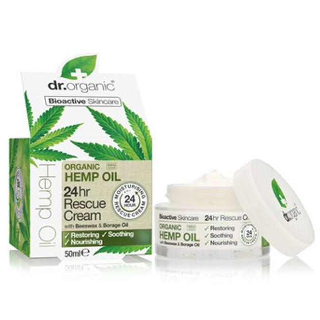 Dr. Organic Hemp Oil 24h Rescue Cream Επανορθωτική Κρέμα Εντατικής Ενυδάτωσης που Διατηρεί την Υγρασία έως 24 Ώρες 50ml