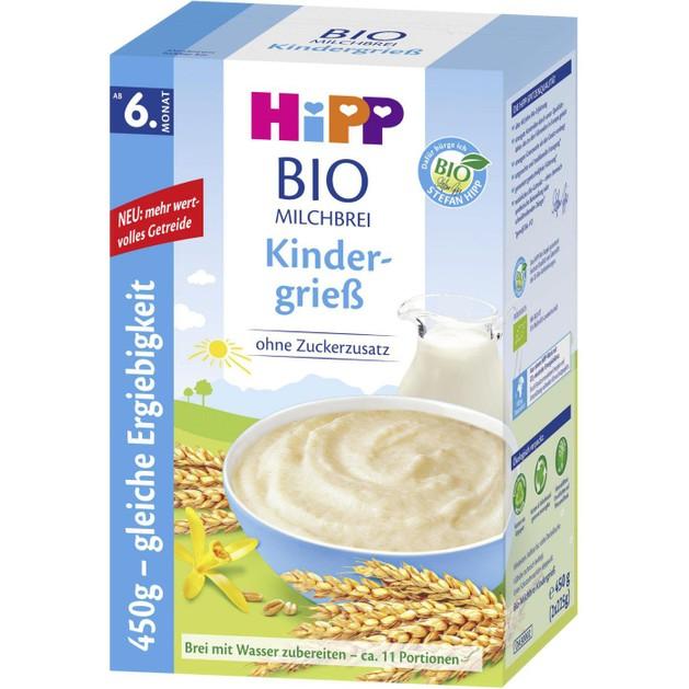 Hipp Bio Κρέμα Δημητριακών με Γάλα & Σιμιγδάλι Φαρίν Λακτέ Χωρίς Προσθήκη Ζάχαρης από τον 6ο 450gr