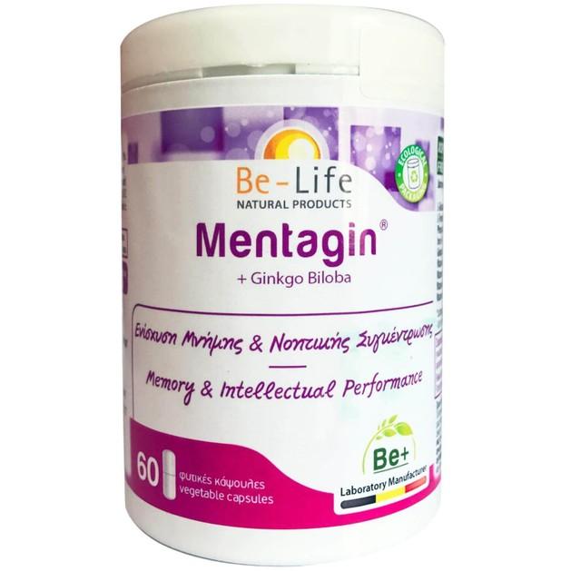 Be-Life Mentagin +Ginkgo Biloba Συμπλήρωμα Διατροφής για Ενίσχυση της Μνήμης & της Νοητικής Συγκέντρωσης 60caps