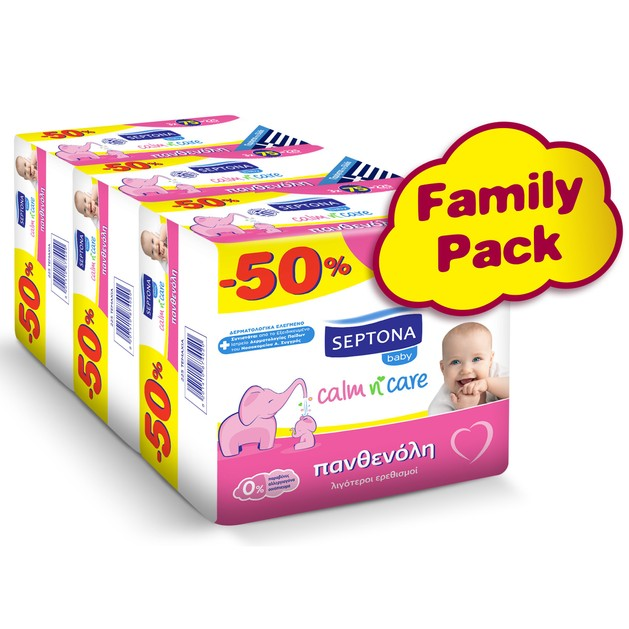 Septona Baby Calm n\' Care Wipes Panthenol Multi Buy Βρεφικά Μωρομάντηλα με Πανθενόλη για Λιγότερους Ερεθισμούς 3x(3x75) Τεμάχια