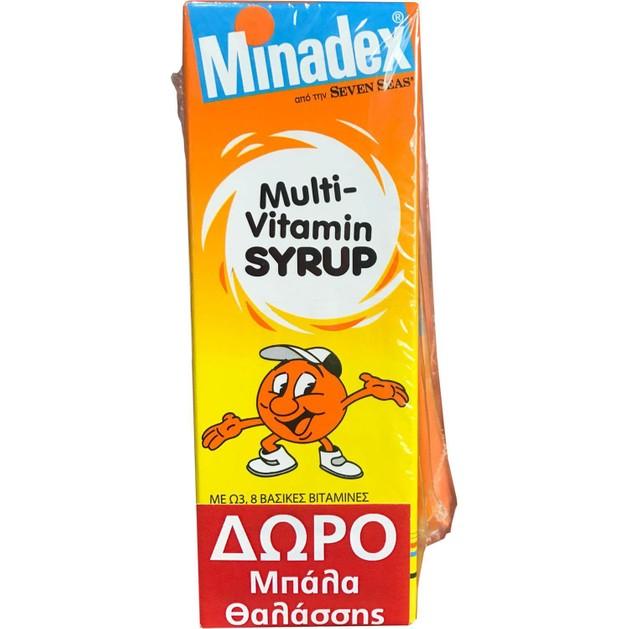 Seven Seas Minadex Multi-Vitamin Πολυβιταμινούχο Σιρόπι για Παιδιά με 8 Βιταμίνες και Χυμό Πορτοκαλιού Δώρο Μπάλα Θαλάσσης 100ml