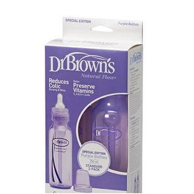 Dr. Brown\'s Natural Flow 213 Χρώμα Μωβ Πλαστικό Μπιμπερό Με Στενό Λαιμό & Φυσική Ροή Θηλή Σιλικόνης 2 τμχ, 2x250ml