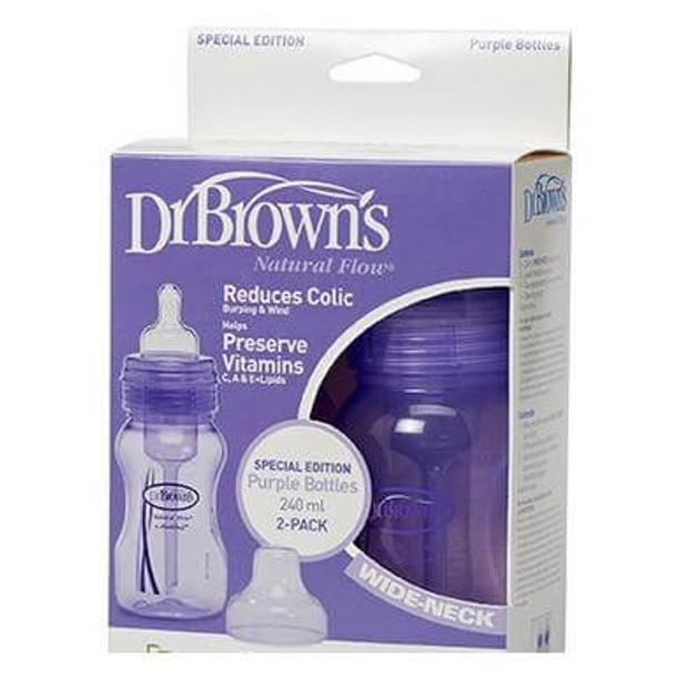 Dr. Brown\'s Natural FLow 828, Πλαστικό μπιμπερό με Φαρδύ Λαιμό & Φυσική ροή θηλή σιλικόνης 2 τμχ, 2x240ml