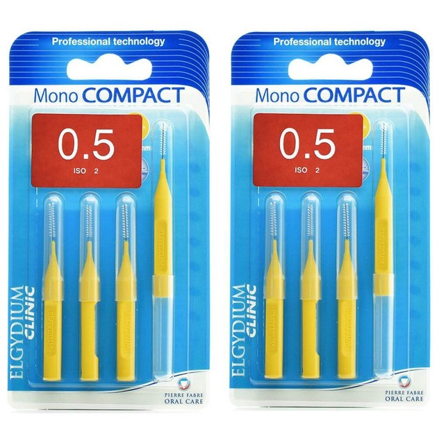 Elgydium Clinic Monocompact, Μεσοδόντια Βουρτσάκια 0.5mm Κίτρινο 2 x 4τμχ Προσφορά -50% στο 2ο Προϊόν