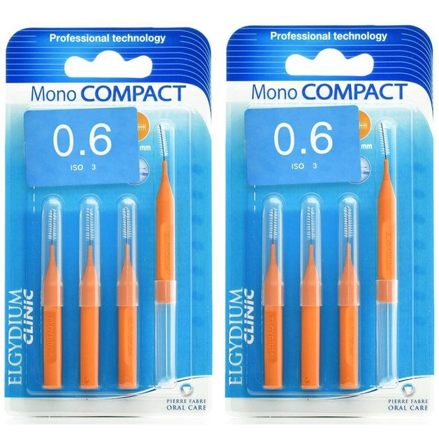 Elgydium Clinic Monocompact, Μεσοδόντια Βουρτσάκια 0.6mm Πορτοκαλί 2 x 4τμχ Προσφορά -50% στο 2ο Προϊόν