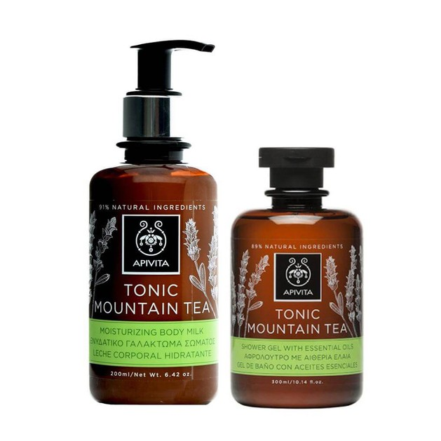 Apivita Tonic Mountain Tea Με Ελληνικό Τσάι του Βουνού SET Shower gel 300ml + Body Milk 200ml