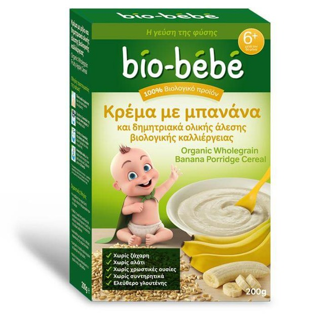 Bio Bebe Κρέμα με μπανάνα & δημητριακά ολικής άλεσης βιολογικής καλλιέργειας 200g