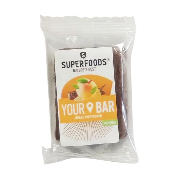 Δώρο Superfoods Your Bar Μπάρα Πρωτεΐνης Υψηλής Περιεκτικότητας με Βερίκοκο, Χαρούπι, Μαύρη Σοκολάτα, Στέβια, Μέλι & Ταχίνι 5gr