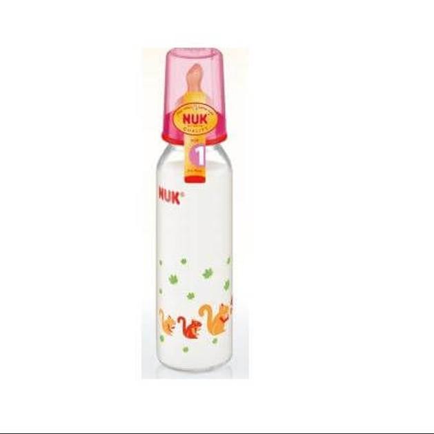 Nuk Classic Πλαστικό Μπιμπερό με Θηλή Καουτσούκ Μεγέθους 1 (0-6 Μηνών) Medium Οπή για Γάλα 240ml