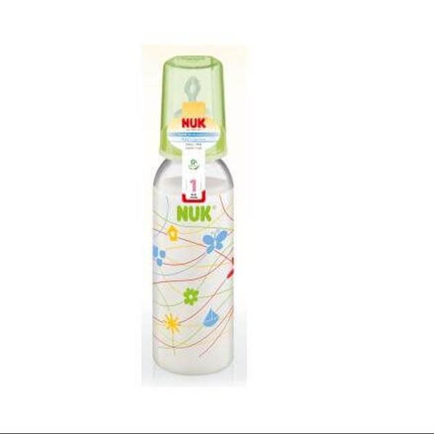 Nuk Classic Πλαστικό Μπιμπερό με Θηλή Σιλικόνης Μεγέθους 1 (0-6 Μηνών) Medium Οπή για Γάλα 240ml