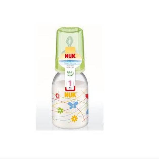 Nuk Classic Πλαστικό Μπιμπερό με Θηλή Σιλικόνης Μεγέθους 1 (0-6 Μηνών) Medium Οπή για Γάλα 110ml