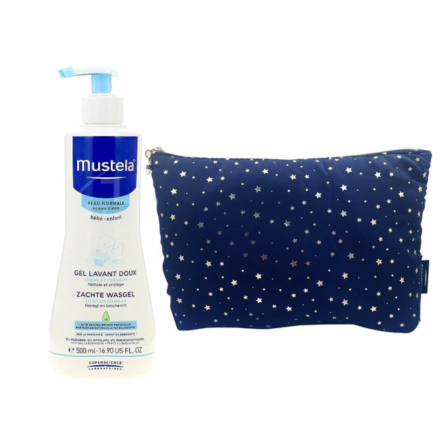 Mustela Πακέτο Προσφοράς Gentle Cleansing Gel Βρεφικό-Παιδικό Gel Καθαρισμού για Σώμα & Μαλλιά 500ml & Δώρο Πρακτικό Νεσεσέρ