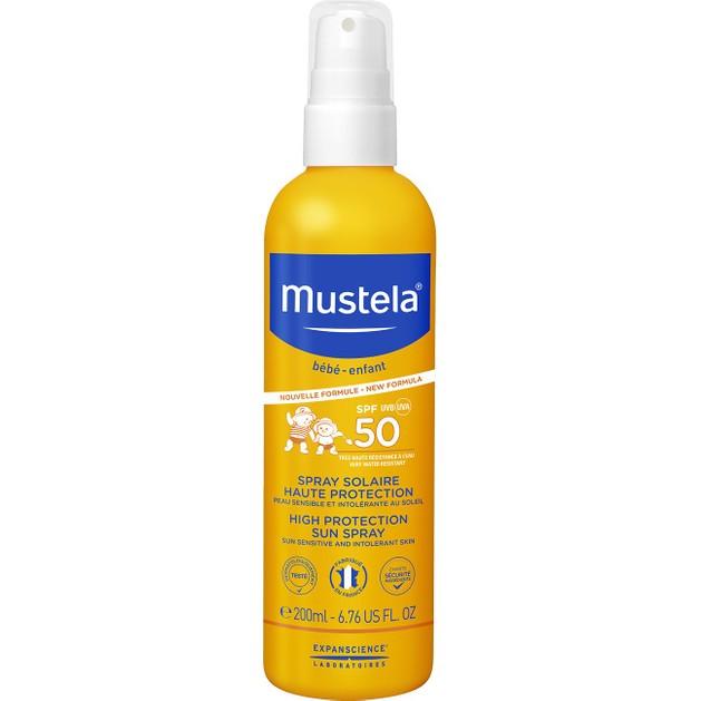 Mustela Bebe High Protection Sun Spray Spf50 Βρεφικό Αντηλιακό Γαλάκτωμα Προσώπου Σώματος Υψηλής Προστασίας 200ml
