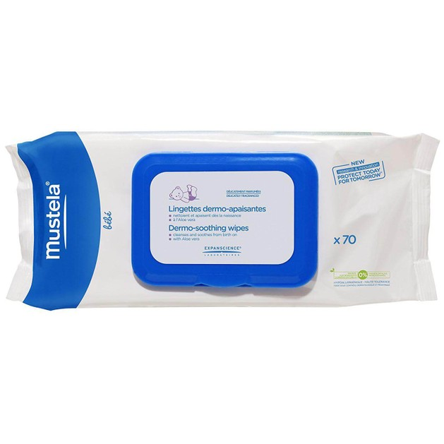 Mustela Dermo-Soothing Wipes Μαντηλάκια Καθαρισμού για Αλλαγή Πάνας 70 Τεμάχια