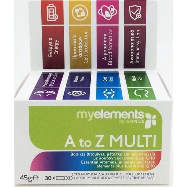 MyElements A To Z Multi Πολυβιταμινούχο Συμπλήρωμα Βιταμινών, Μετάλλων & Ιχνοστοιχείων με Λουτείνη και Q10 30caps