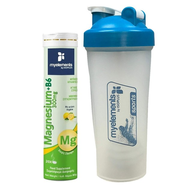 Δώρο My Elements Magnesium 300mg & B6 Γεύση Λεμόνι 20 Effer.Tabs & Sports Shaker 600ml
