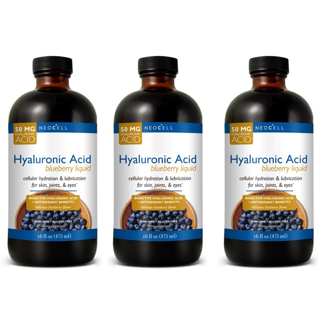 Liquid Hyaluronic Acid with blueberry Υγρό Πόσιμο Υαλουρονικό Οξύ με Μύρτιλο, Βατόμουρο & Βιταμίνη C &Αντιοξειδωτικά 473ml x3 Τ