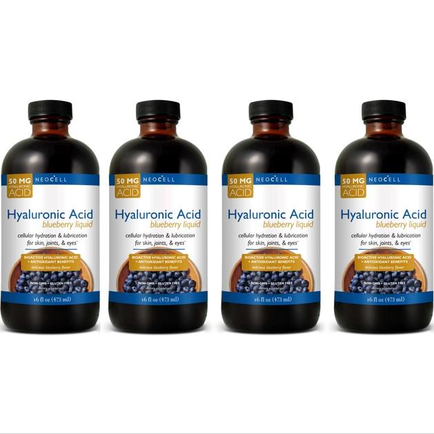 Liquid Hyaluronic Acid With Blueberry Υγρό Πόσιμο Υαλουρονικό Οξύ με Μύρτιλο, Βατόμουρο & Βιταμίνη C & Αντιοξειδωτικά 4x473ml