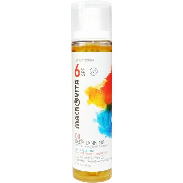 Macrovita Oil Deep Tanning Spf6 Αντηλιακό Λάδι για Βαθύ Μαύρισμα με Καροτέλαιο, Έλαιο Αβοκάντο & Λάδι Ελιάς 100ml
