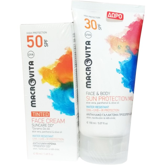Macrovita Πακέτο Προσφοράς Suncare DD Face Cream Spf50 Tinted 50ml & Δώρο Face & Body Sun Spf30 Protection Milk 150ml