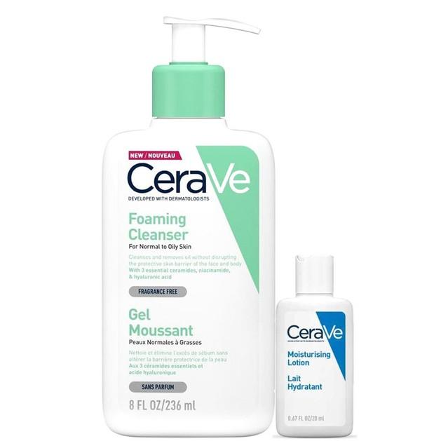 CeraVe Foaming Cleanser Gel Καθαρισμού Προσώπου & Σώματος για Κανονική - Λιπαρή Επιδερμίδα 236ml & Δώρο Moisturising Lotion 20ml