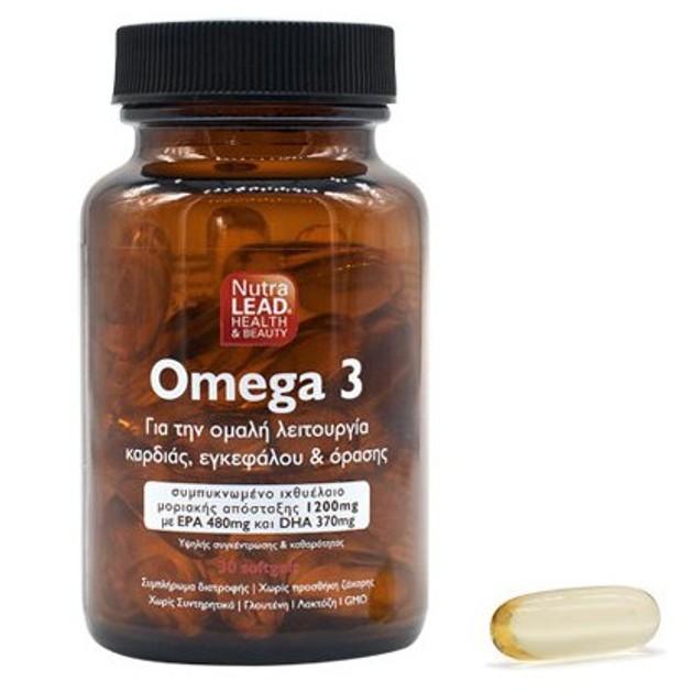 NutraLead Omega 3 Συμπλήρωμα Διατροφής για την Ομαλή Λειτουργία Καρδιάς, Εγκεφάλου & Όρασης 30Softgels
