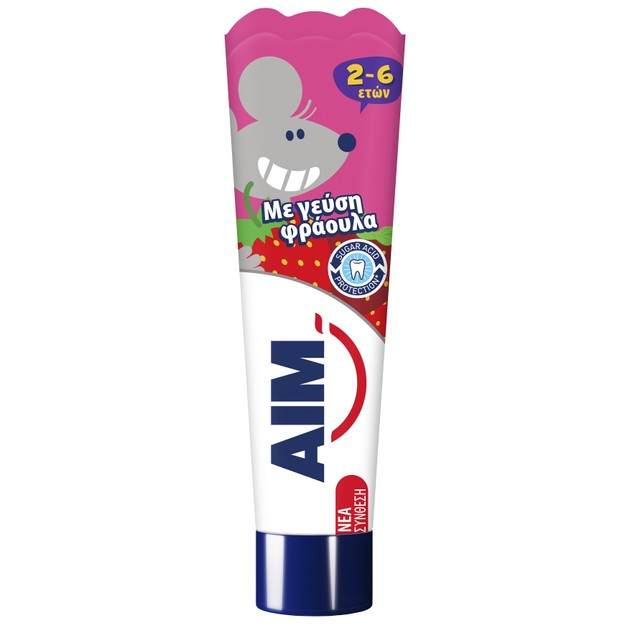 Aim Kids Παιδική Οδοντόκρεμα Ειδική για τα Ευαίσθητα Δόντια του Παιδιού με Γεύση Φράουλα 2-6 Ετών 50ml
