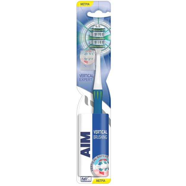 Aim Vertical Expert Οδοντόβουρτσα με Πρωτοποριακή Κεφαλή για Αποτελεσματικότερο Καθαρισμό,Μέτριας Σκληρότητας σε Διάφορα Χρώματα
