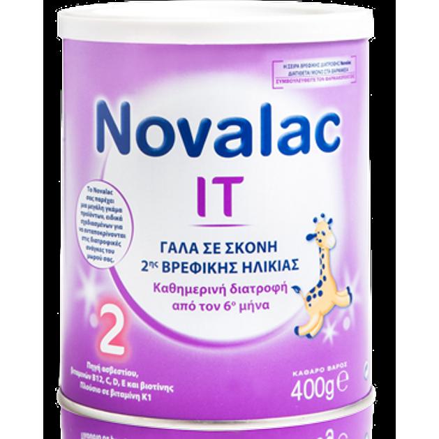 Novalac IT Νο 2  Γάλα Σκόνη 2ης Βρεφικής Ηλικίας Κατάλληλο για την Αντιμετώπιση της Δυσκοιλιότητας Από Τον 6ο Μήνα 400gr