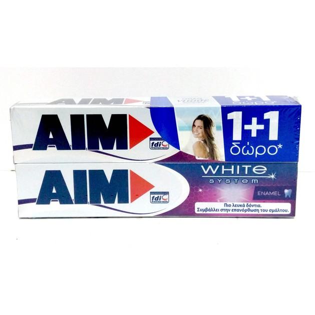 Aim White System Enamel 1+1 Δώρο Οδοντόκρεμα για Λευκά Δοντιά & Διατήρηση της Καλής Υγείας του Σμάλτου 2 x 75 ml