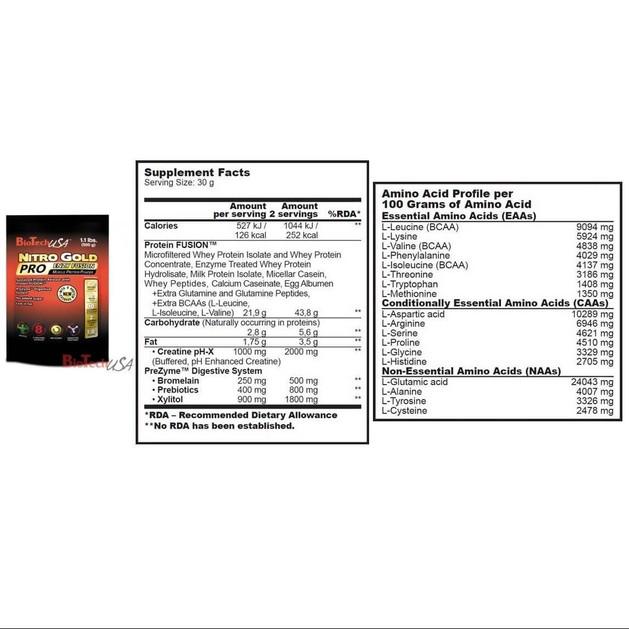 Biotech Usa Nitro Gold Pro E.F. Πρωτεΐνη Σταδιακής Απελευθέρωσης 500gr