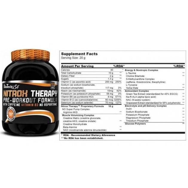 Biotech Usa Nitrox Therapy Για Πριν Την Προπόνηση (Γεύση tropical fruit) 340gr