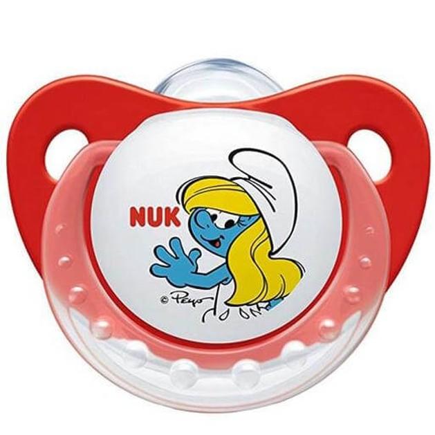 Nuk Trendline The Smurfs Πιπίλα Σιλικόνης με Κρίκο Χωρίς BPA Κόκκινο Χρώμα