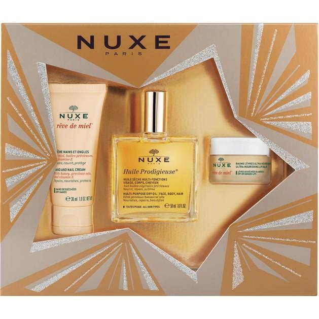 Nuxe Πακέτο Προσφοράς Nuxe Huile Prodigieux 50ml & Reve De Miel Cream Mains 30ml & Baume Levres 15ml