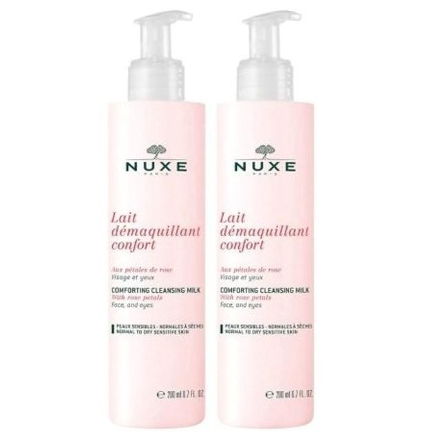 Nuxe Lait Demaquillant Confort  Ήπιο Γαλάκτωμα Καθαρισμού & Ντεμακιγιάζ με Ροδοπέταλα 200ml 1+1 Δωρό