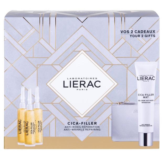 Lierac Promo Cica-Filler Serum 3x10ml & Δώρο Cica-Filler Mat Anti-Wrinkle Cream-Gel 40ml & Rue des Fleurs Δερμάτινο Πορτοφόλι