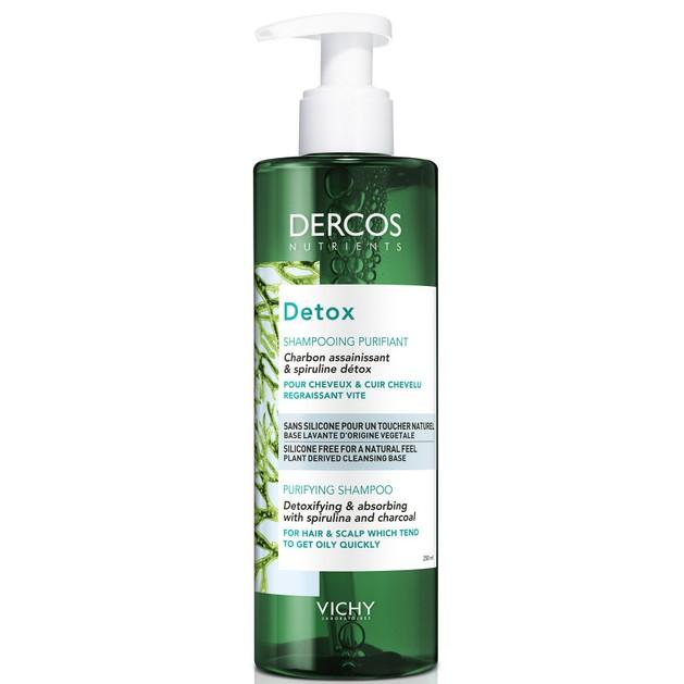 Vichy Dercos Nutrients Detox Shampooing Purifiant Εξισορροπητικό Σαμπουάν Αποτοξίνωσης για Λιπαρά Μαλλιά & Τριχωτό 250ml