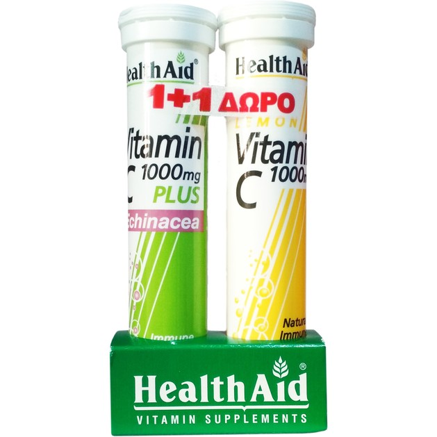 Health Aid Πακέτο Προσφοράς Vit C 1000mg Plus Echinachea 20eff.tabs & Δώρο Vitamin C Lemon 1000mg 20eff.tabs