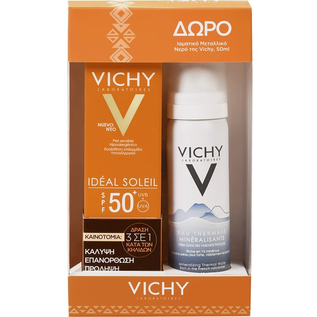 Vichy Πακέτο Προσφοράς Ideal Soleil Spf50+ Tinted Anti Spot 50ml & Δώρο Eau Thermale Water 50ml