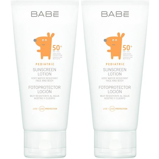 Babe Pediatric Πακέτο Προσφοράς Sunscreen Lotion Spf50+ Αντηλιακό Γαλάκτωμα Πολύ Υψηλής Προστασίας για Βρέφη & Παιδιά 2x100ml