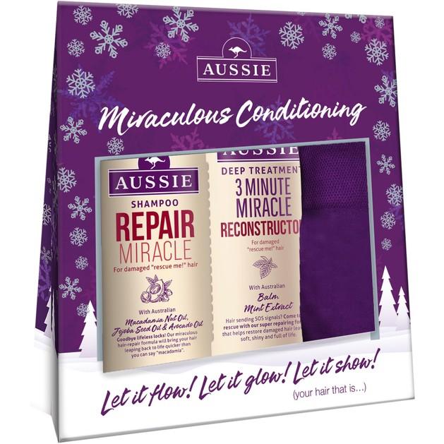 Aussie Gift Box Repair Miracle Shampoo Damage Hair Σαμπουάν 300ml, 3 Minute Miracle Reconstructor 250ml & Δώρο Aussie Καλτσάκια