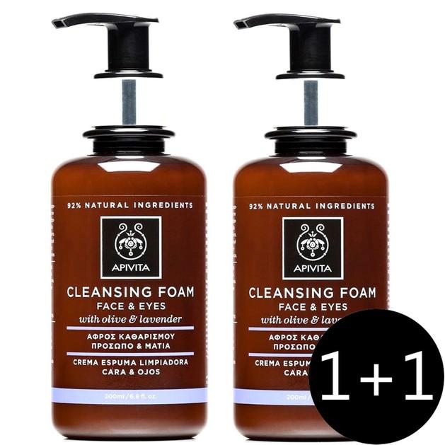 Apivita Πακέτο Προσφοράς Cleansing Foam Face & Eyes With Olive & Lavender Αφρός Καθαρισμού για Πρόσωπο & Μάτια 2x200ml 1+1 Δώρο